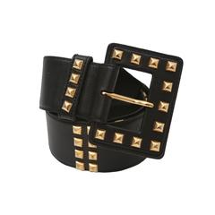 Saint Laurent Black Leather Belt with Gold Studs