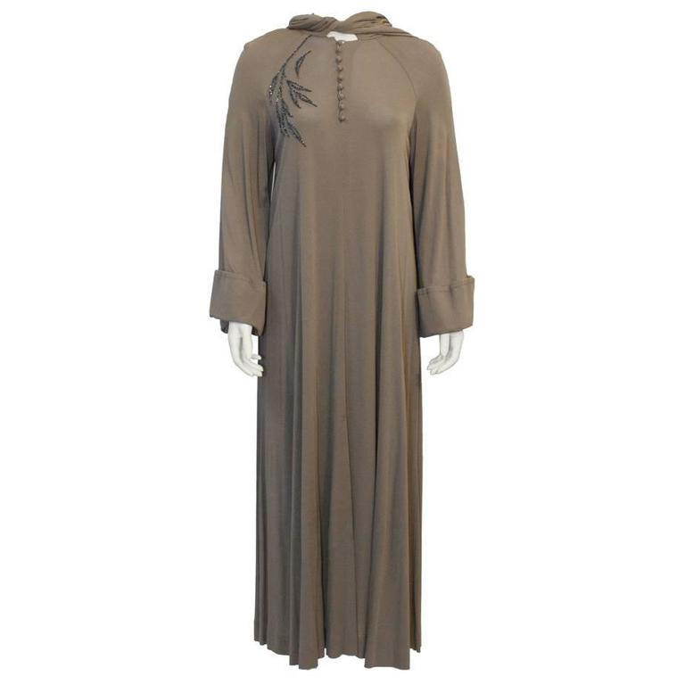 Early 1980's Vicky Tiel Mocha Gown with Hood For Sale