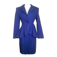 Patrick Kelly 1980s Blue & White Pinstripe Peplum Skirt Suit with Anchor Buttons