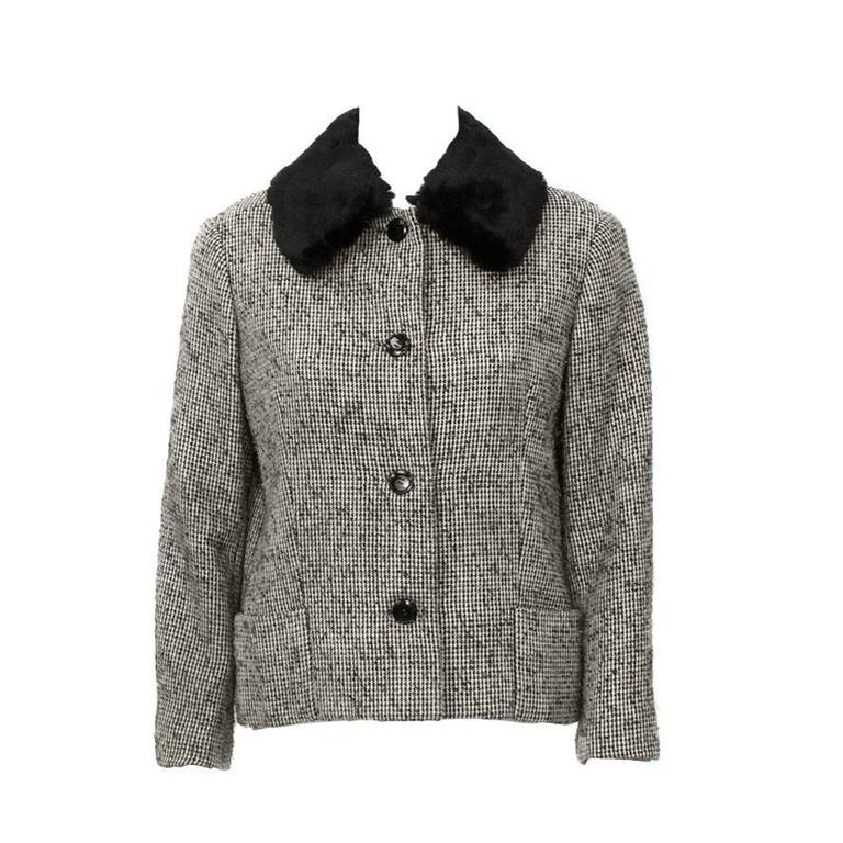 1950's Jacques Griffe Tweed Jacket with Fur Collar 1