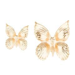 Rodarte Gold Tone Asymmetrically Sized Butterfly Earrings
