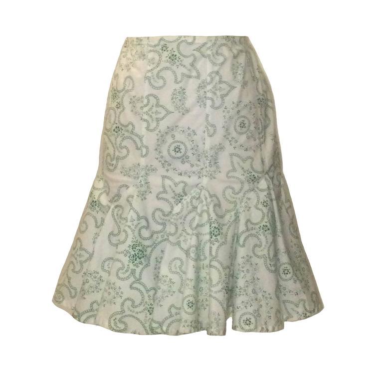 Azzedine Alaia White and Green Paisley Flair Bottom Pencil Skirt