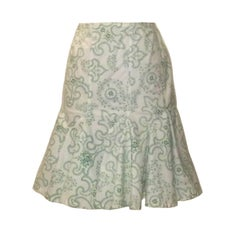 Azzedine Alaia White and Green Floral Paisley Flair Bottom Pencil Skirt