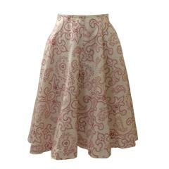 Azzedine Alaia White & Red Paisley Cotton Circle Skirt
