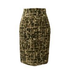 Oscar de la Renta NWT Cream & Tan Pencil Skirt