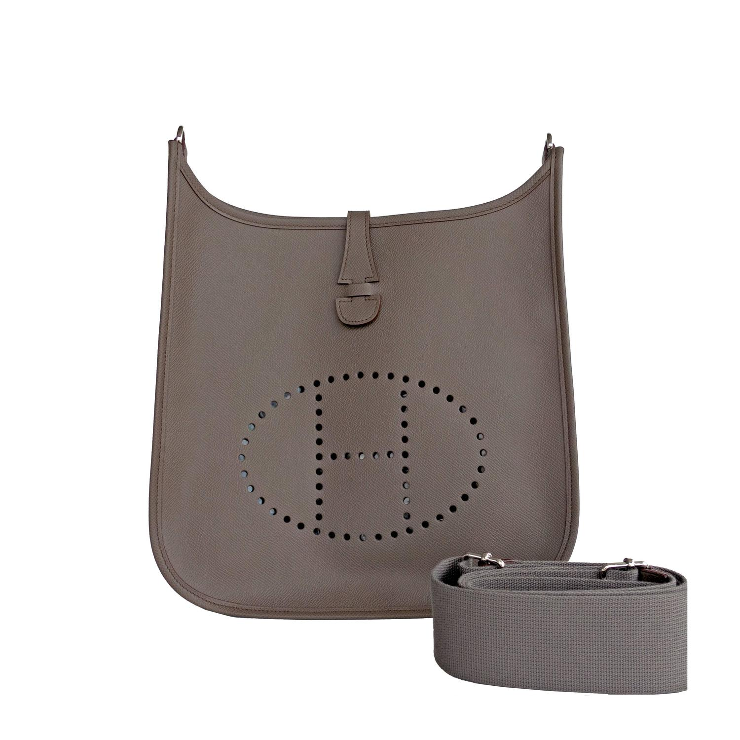 Hermes Etain Grey Evelyne PM Crossbody Messenger Shoulder Bag at ...