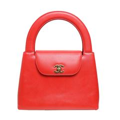 Chanel Classic Red Leather Flap Handbag