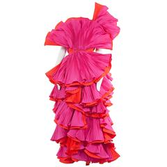 Roberto Capucci pink and red pleated gown, circa 1985