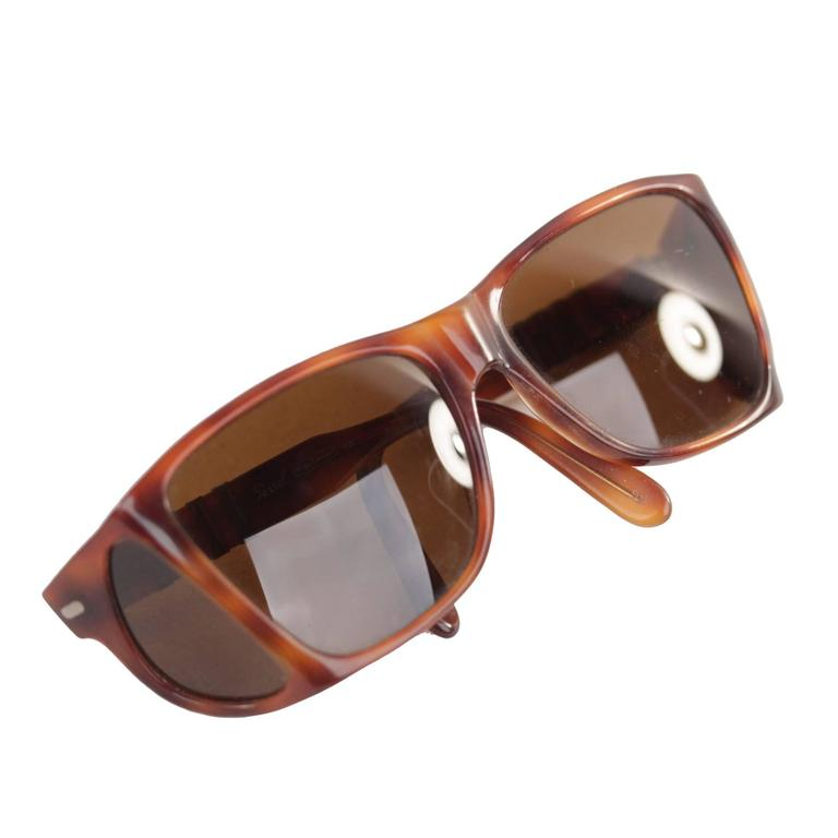 e3e74581eda7d PERSOL MEFLECTO RATTI Vintage Brown SUNGLASSES with SIDE SHIELDS w CASE For  Sale