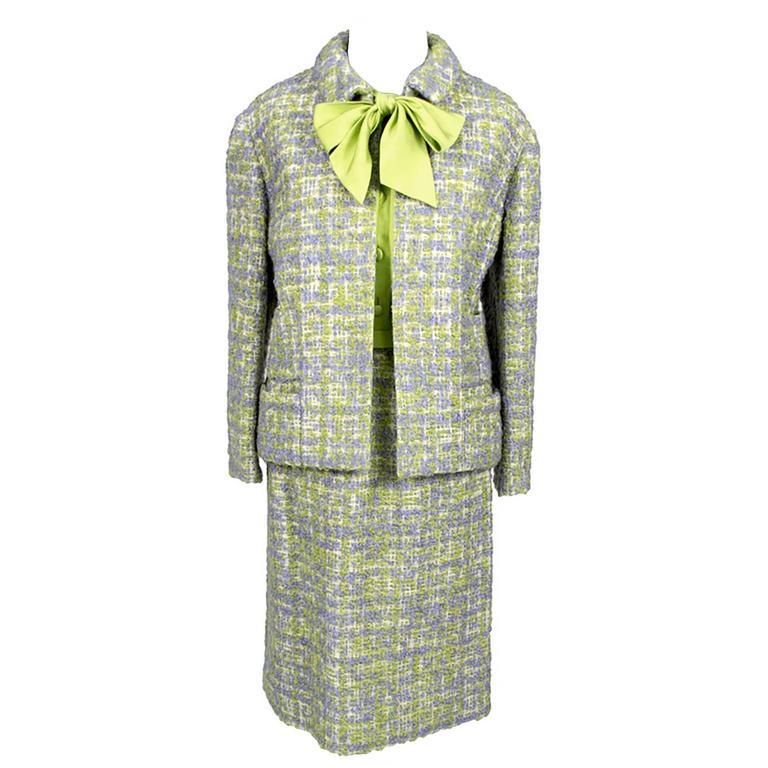 Tweed Vintage Suit Custom Ramuz 3pc Skirt Jacket & Lime Green Silk Bow Blouse