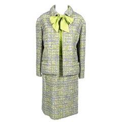 Vintage Tweed Suit Purple &  Lime Green W Skirt Jacket & Silk Bow Blouse Geneve