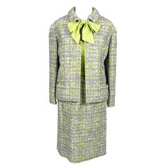 Ramuz Switzerland Vintage Skirt Suit 3pc Lime Green Silk Bow Blouse Boucle Tweed
