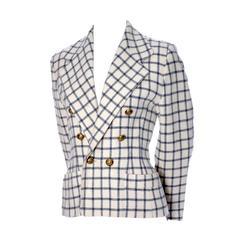 Guy Laroche Vintage Plaid Wool Blazer Jacket
