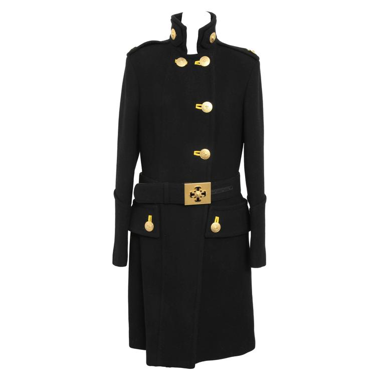 Versace Amazing Runway Black Military Coat with Medusas For Sale
