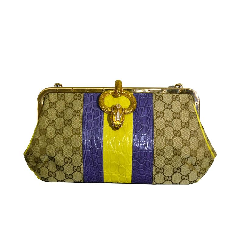 2000s Gucci python skin monogram dragon bag