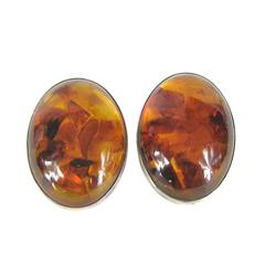 Massive Baltic Amber Sterling Silver Earrings
