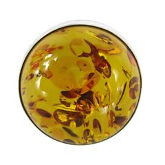 Oversized Round Baltic Amber Sterling Silver Ring