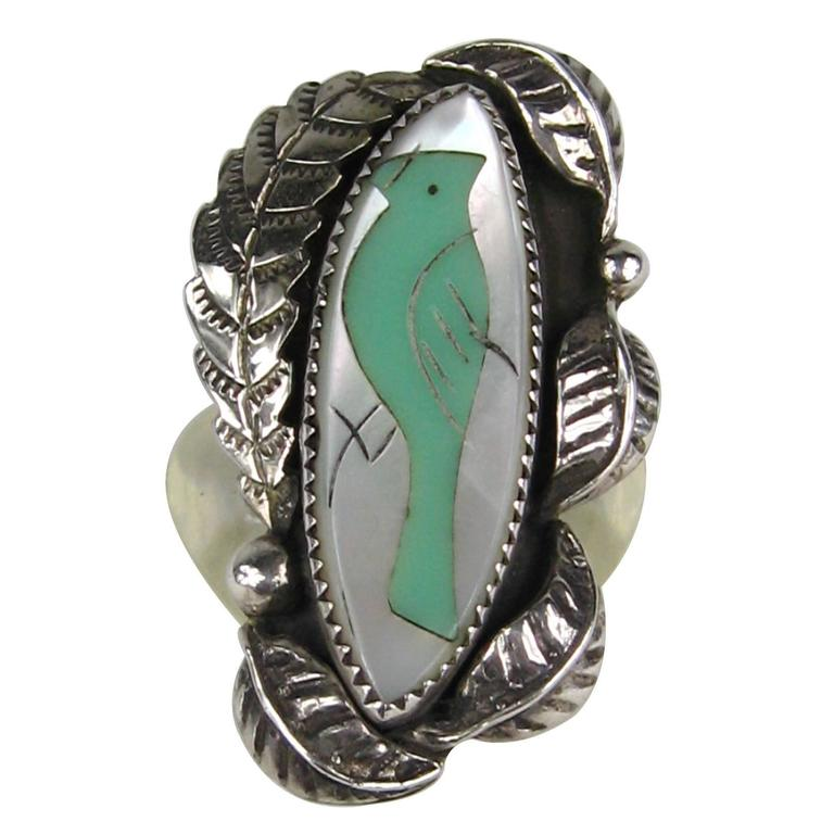 Native American Pawn Turquoise Mother Of Pearl Sterling Silver RIng  For Sale