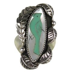 Native American Pawn Turquoise Mother Of Pearl Sterling Silver RIng