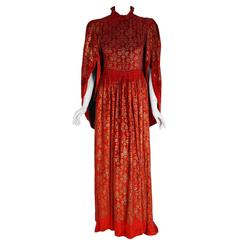 1920's Gallenga Couture Metallic Stenciled Red Velvet Angel-Sleeve Trained Gown