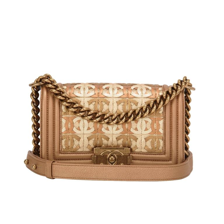 Chanel Dark Gold Metallic CC Embellished Lambskin Small Boy Bag For Sale