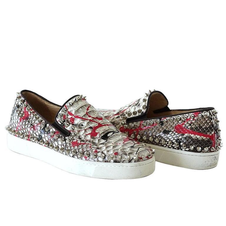 CHRISTIAN LOUBOUTIN Shoe Snakeskin Graffiti Pik Boat Sneakers 35  5   1