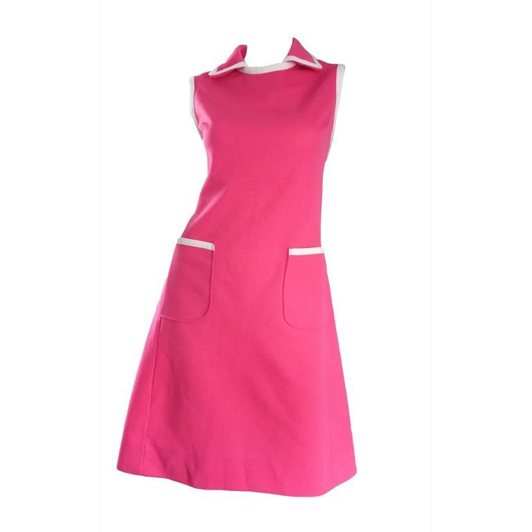 Plus Size Chic Vintage 1960s 60s I. Magnin Hot Pink + White A - Line Knit Dress