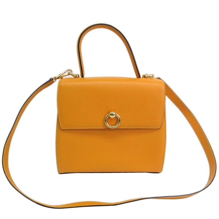 Celine Mustard Yellow Leather Box Kelly Satchel Shoulder Bag 1