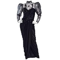 Sensational Vintage Vicky Tiel Black Jersey French Lace Victorian Grecian Dress
