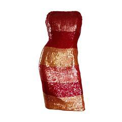 Beautiful Vintage Victor Costa !990s 90s Strapless Sequin Silk Dress