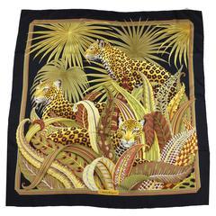 Spectacular Jungle Themed Vintage Silk Scarf By Ferragamo.