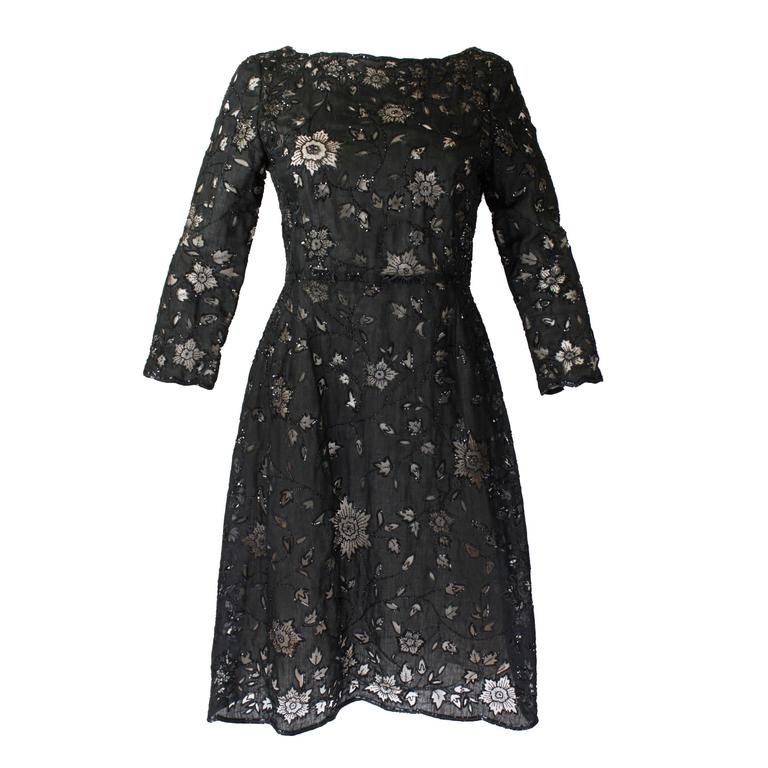 Oscar De La Renta Black Beaded Illusion Lace Organza Cocktail Dress 1