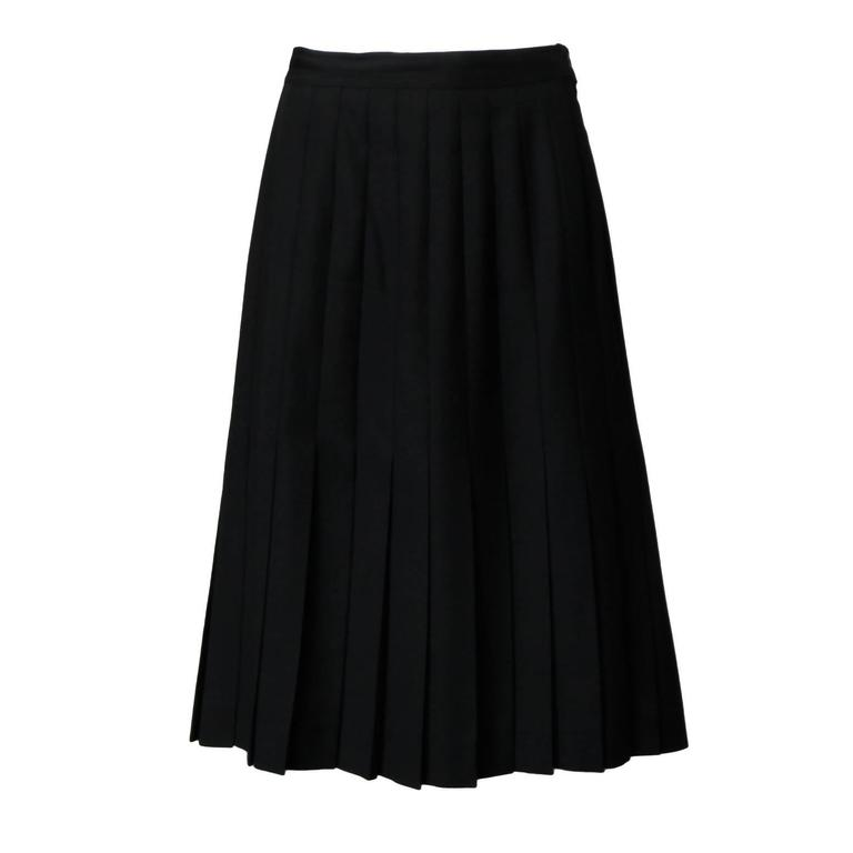 Gorgeous Valentino for Neiman Marcus Vintage Black 100% Wool Pleated Skirt