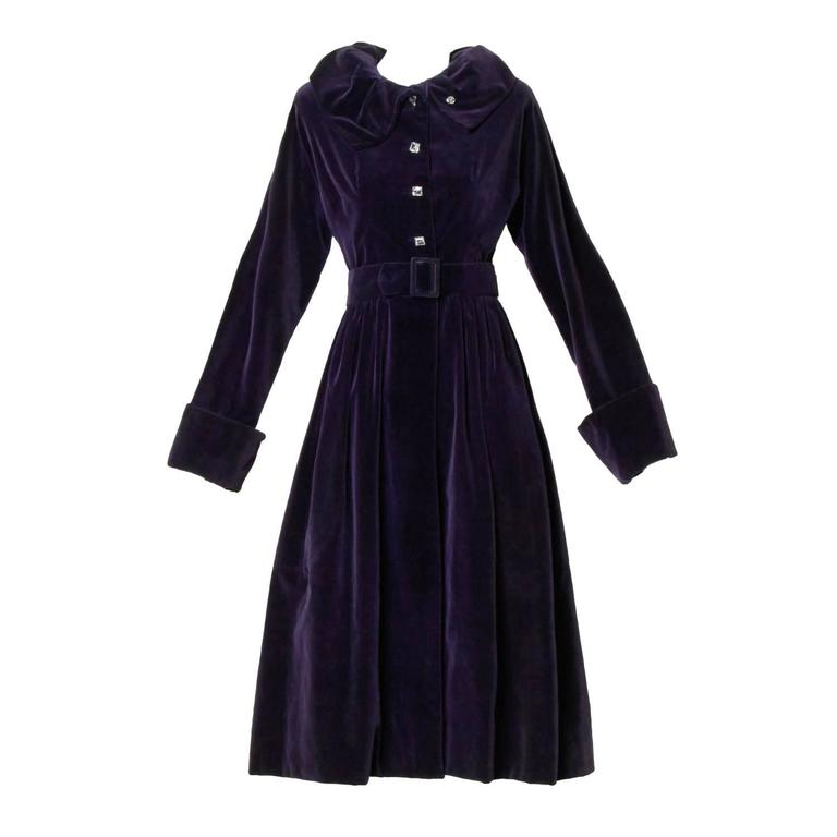 Gorgeous 1940s Vintage Purple Velvet Coat with Glass Buttons + Matching Belt For Sale