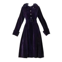 Gorgeous 1940s Vintage Purple Velvet Coat with Glass Buttons + Matching Belt