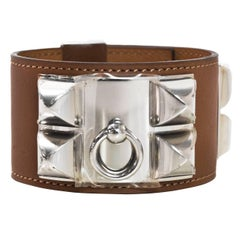 Hermes Tan Barenia Leather Collier De Chien CDC Cuff sz S PHW