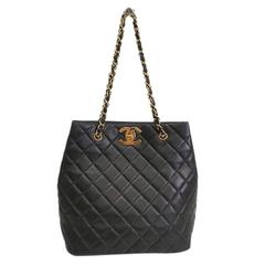 Chanel Black Quilted Lambskin Leather with Gold Hardware Shoulder Tote Bag