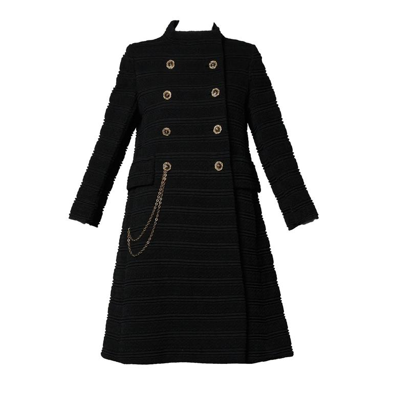 1960s Vintage Wool Mod Coat with Military Chain Detail + Rhinestone Buttons 1