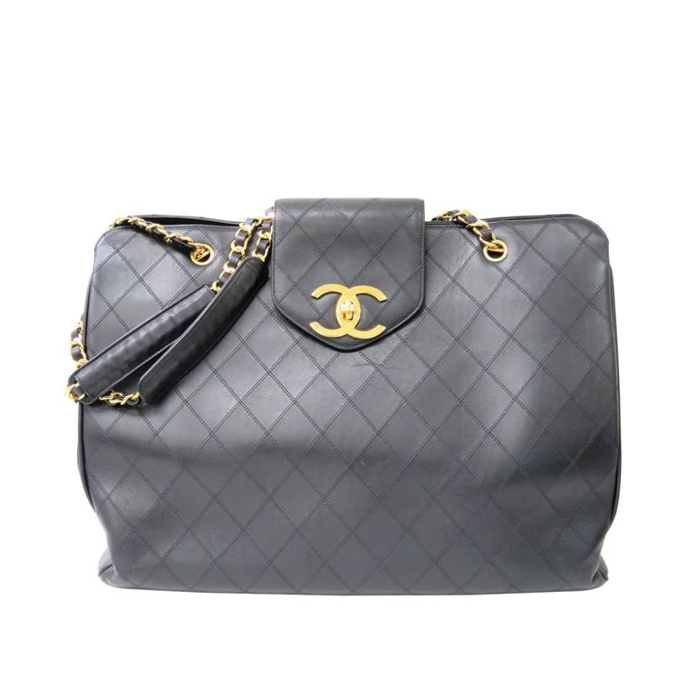 Chanel Black Quilted Calfskin Supermodel Overnight Weekender Tote Shoulder Bag 1