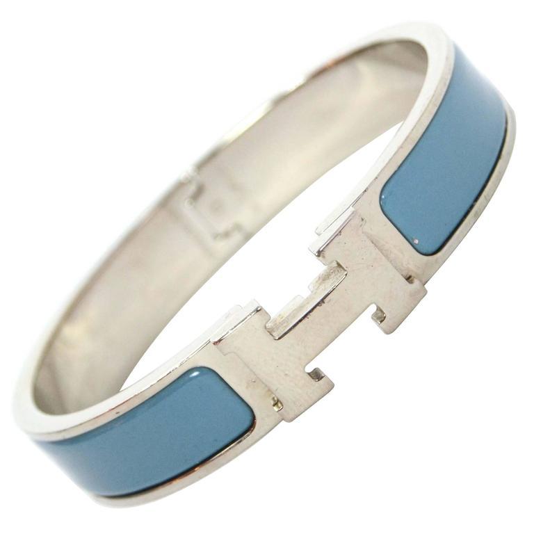 Hermes Blue Jean Palladium Enamel Narrow Clic Clic Bracelet For Sale