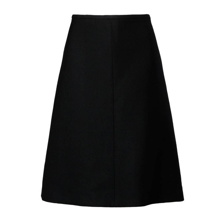 Louis Feraud Vintage Black Wool A-Line Skirt