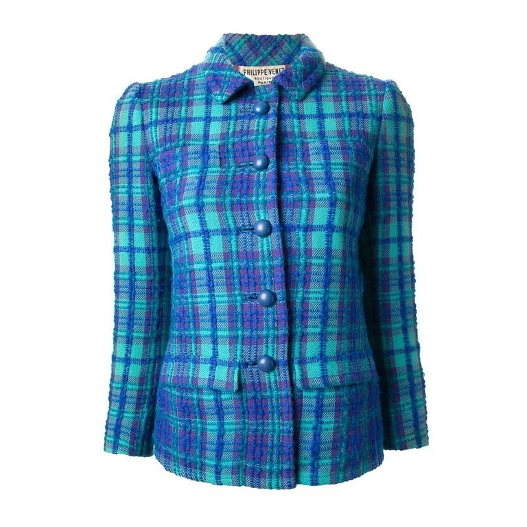 Philippe Venet Blue Woven Wool Jacket, 1960s  For Sale