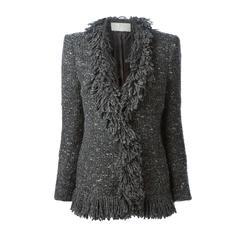 1980s Grey Chine Carven Fringed  Jacket