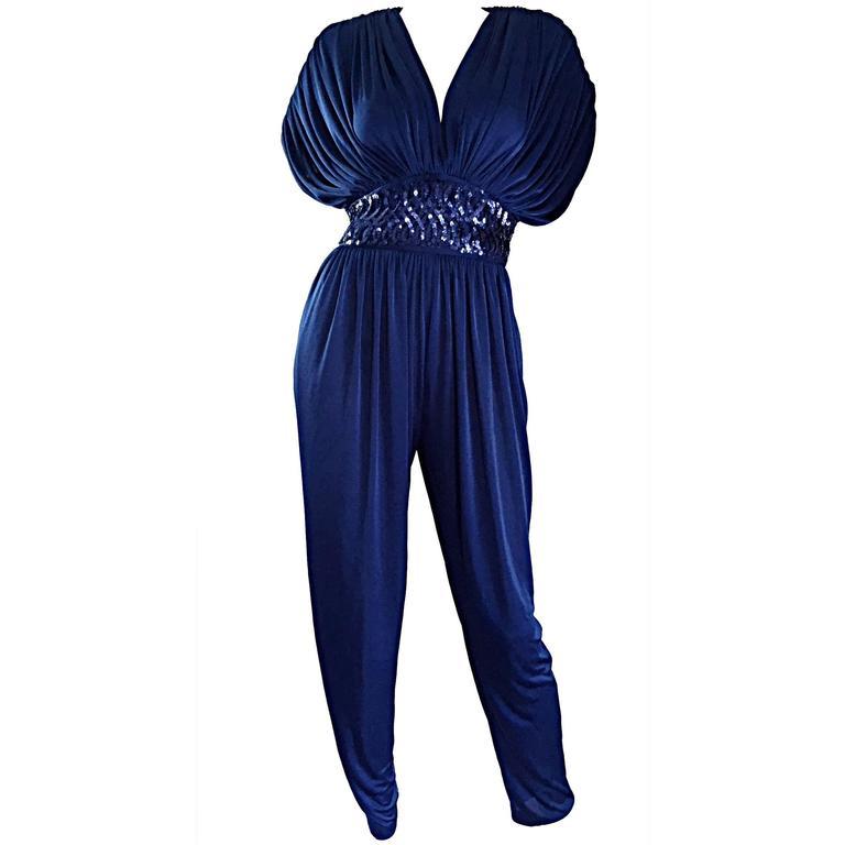 Amazing Vintage Royal Blue Jersey + Sequins 1970s 70s ...