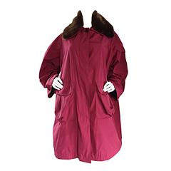 Vintage Romeo Gigli Raspberry Red Cocoon Coat w/ Detachable Faux Fur Collar