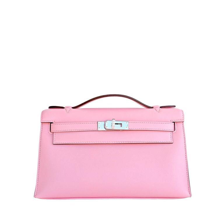 Hermes Rose Sakura Kelly Pochette Cut Clutch Bag Swift Palladium 1