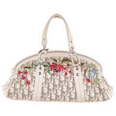 Christian Dior Diorissimo Beige Logo Canvas Satchel Handbag with Embroidery