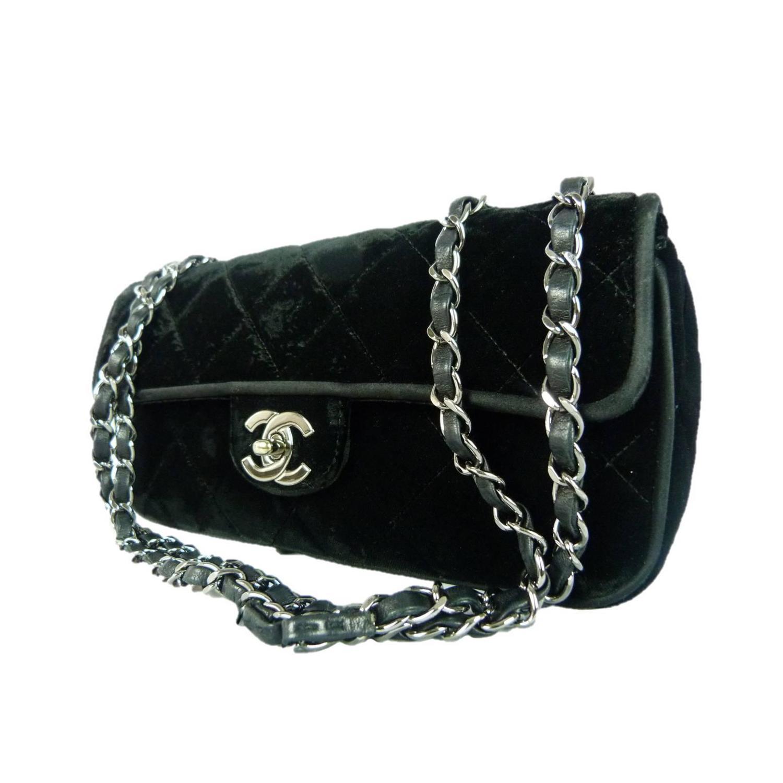 chanel black velvet crossbody bag at 1stdibs