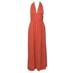 1970's Halston Red & White Moss Crepe Halter Dress