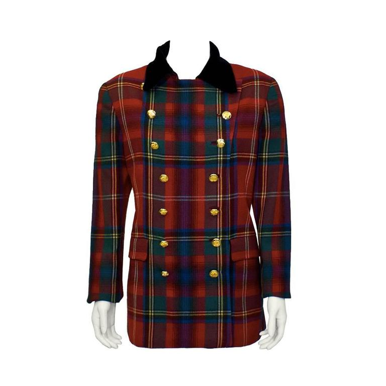 1980's Ralph Lauren Red Tartan Blazer  For Sale